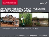 Applied Research for Inclusive Rural Communication
