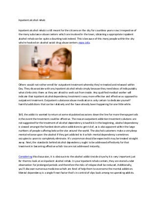 Inpatient alcohol rehab treatment