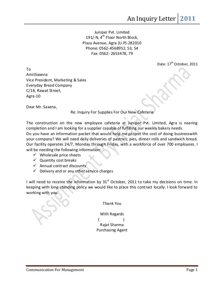 special inquiry letter sample