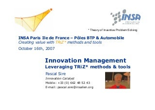 Creating Value With T Ri Z Methods And Tools - Soiree INSA Paris