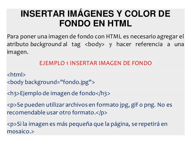 Insertar imágenes y color de fondo en html
