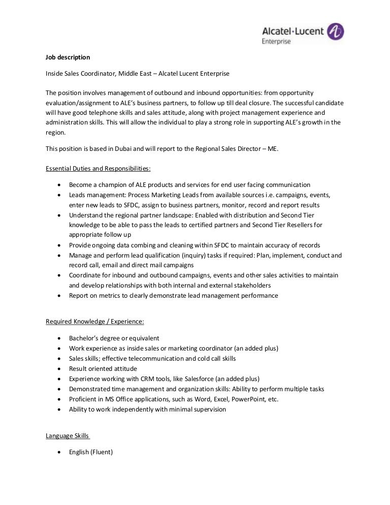 Alcatel Lucent Enterprise  Inside Sales Job Description