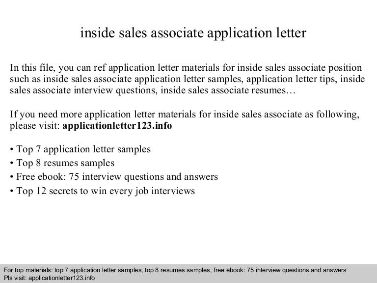 Sale Ociates Application Letter on