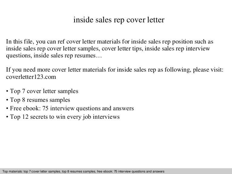 Inside sales rep cover letter