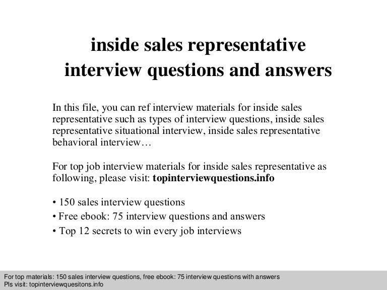 Inside sales representative interview questions and answers