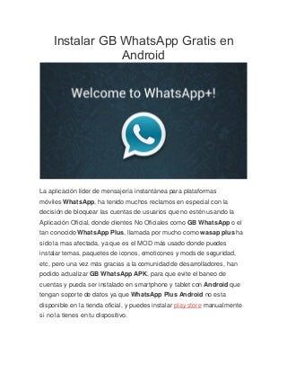 Instalar gb whats app gratis en android