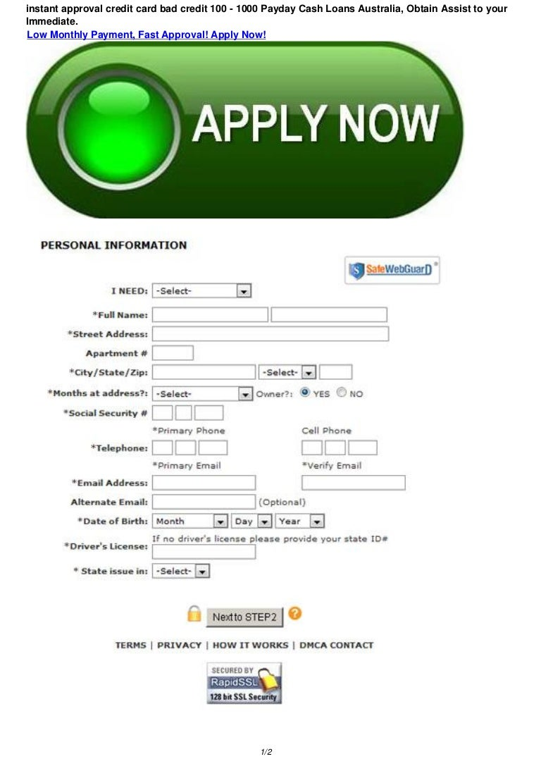 Immediate Credit Card >> Instant Approval Credit Card Bad Credit 100 1000 Payday