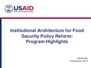 Institutional Architecture for Food Security: Program Highlights from Nepal-- Rave Aulakh
