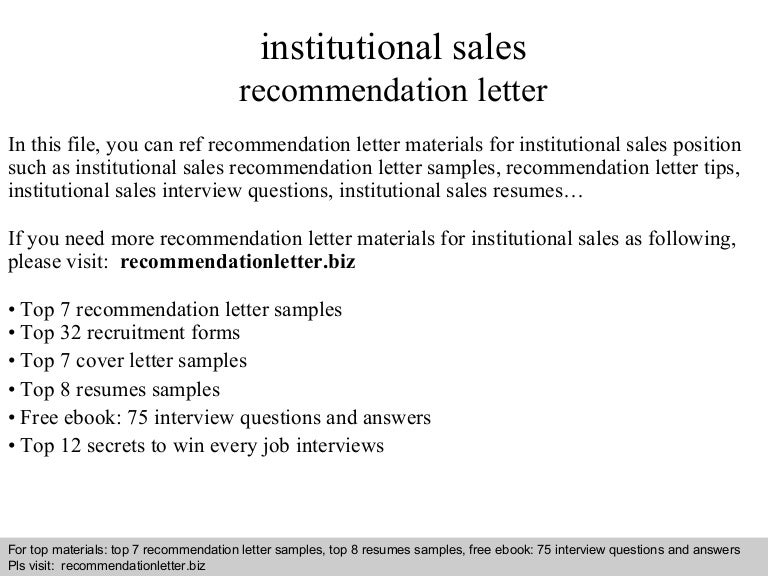 Institutional sales recommendation letter yadclub Images