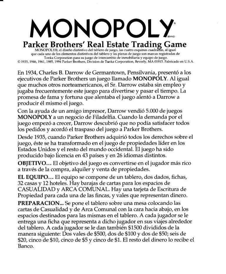 Instrucciones De Juego Del Monopoly