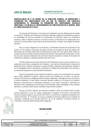 PROGRAMA DE FORMACIÓN DEL PROFESORADO ESCUELAS MENTORAS. Instrucciones