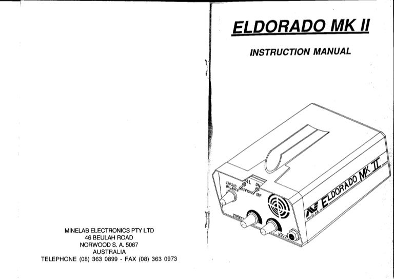 Instruction Manual Minelab Eldorado Mark Ii Metal Detector English La