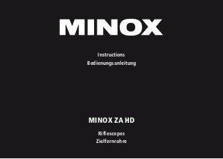 Instructions MINOX ZA HD Series - Optics Trade