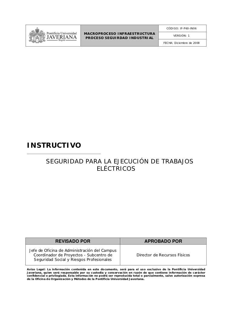 Instructivo de seguridad para trabajos electricos