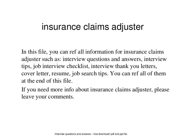 insurance claims adjuster resumes