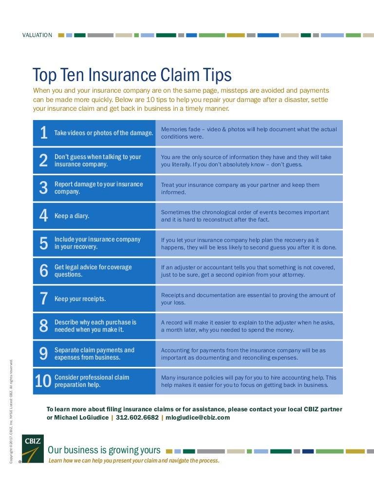 Top Ten Contemporary Novels: Top Ten Insurance Claim Tips