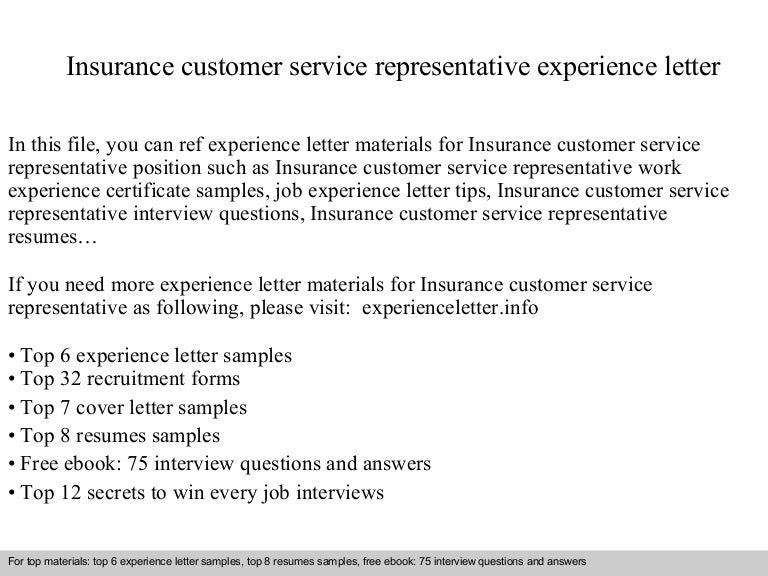 Insurance Customer Service Representative Experience Letter