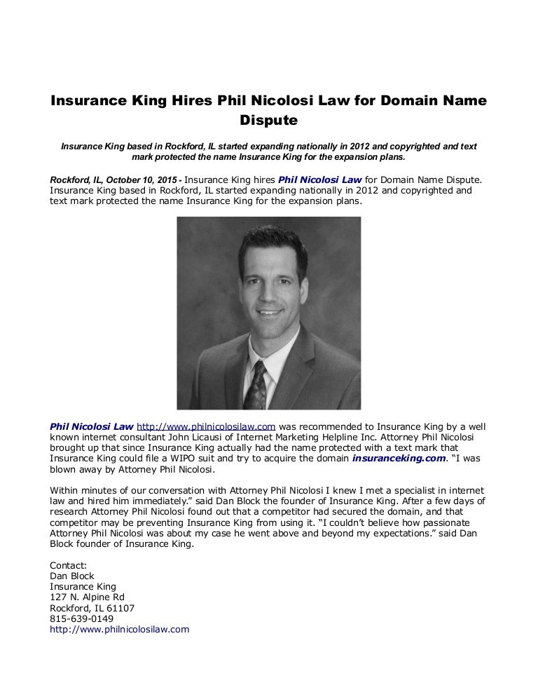 Insurance King Hires Phil Nicolosi Law