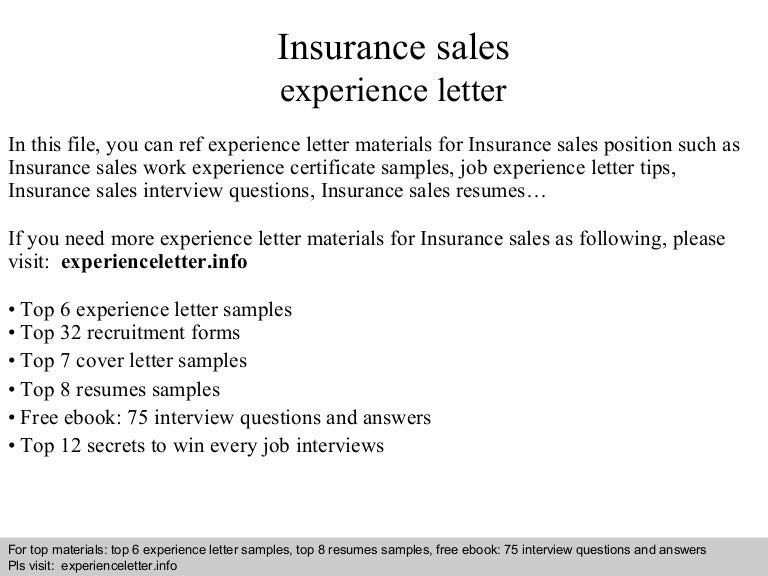 sample insurance letter of experience  Insurance sales experience letter