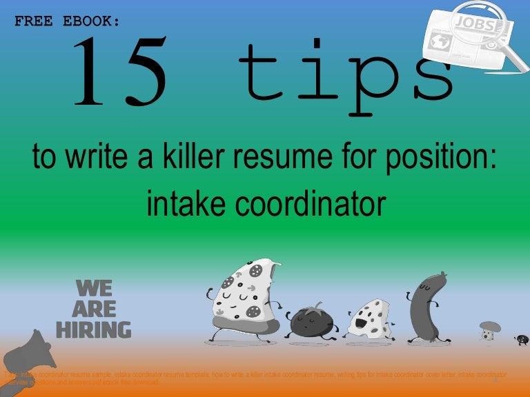 Intake Coordinator Resume Sample Pdf Ebook