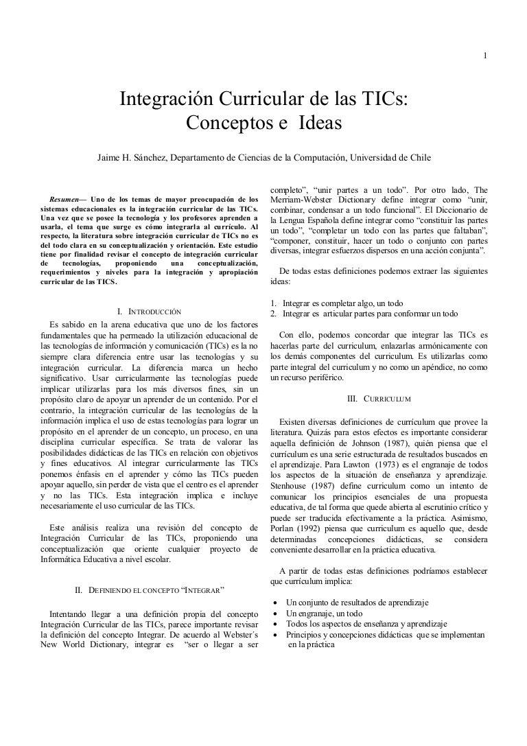 Integración curricular de las tic conceptos e ideas (sánchez)