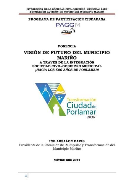 Visión de futuro del municipio Mariño a traves de la integración sociedad civil - gobierno municipal
