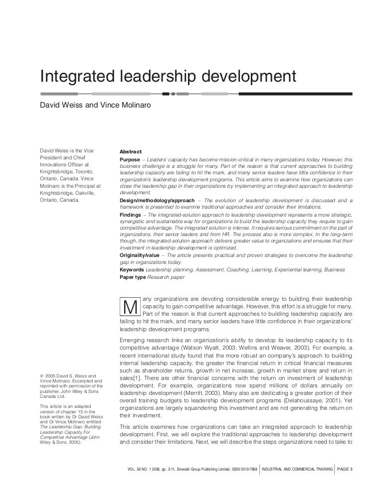 intergrative approaches essay Leadership: an integrative approach leadership, as stated by yukl (2010), is a multifaceted concept that has kept a passionate interest among its followers and people since it takes into account the characteristics of the leaders, followers and the surrounding environment.