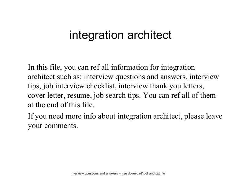 Integration architect – Architect Job Description