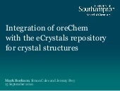 Integration of oreChem with the eCrystals repository for crystal structures