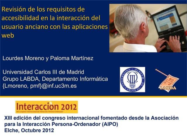 Revisión de los requisitos de accesibilidad en la interacción del usuario anciano con las aplicaciones web