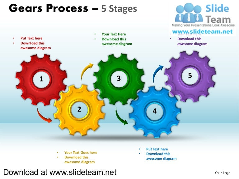 Interconnected Gear Pieces Smart Arts Process 5 Stages Style 1 Power U2026