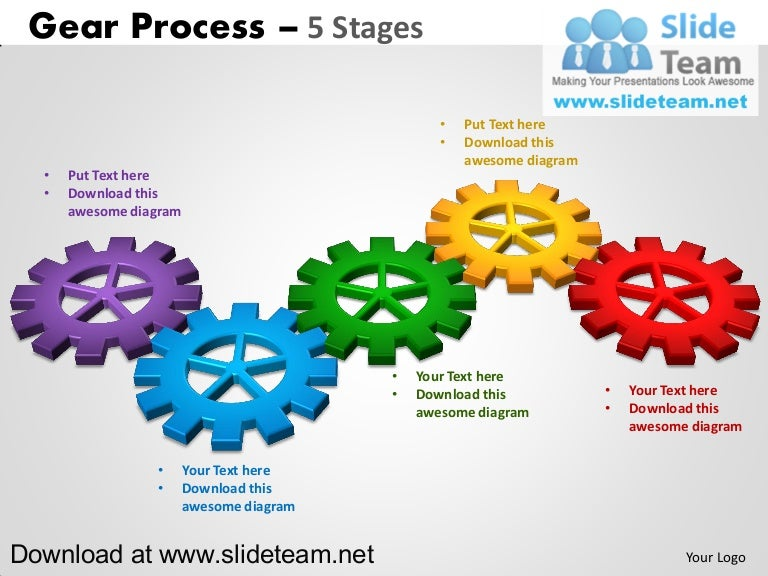 Interconnected gear pieces smart arts process 5 stages style 2 power – Smartart Powerpoint Template