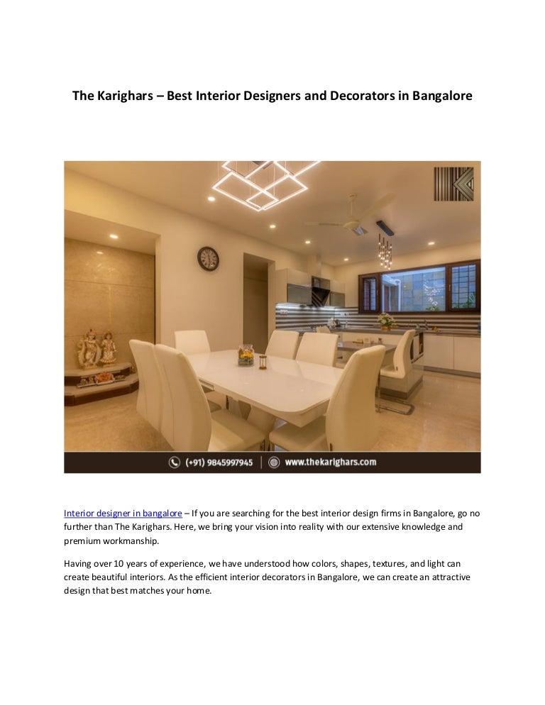 Interior Designer In Bangalore The Karighars