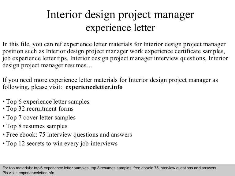 Experience Letter For Interior Designer Senior Work Letters