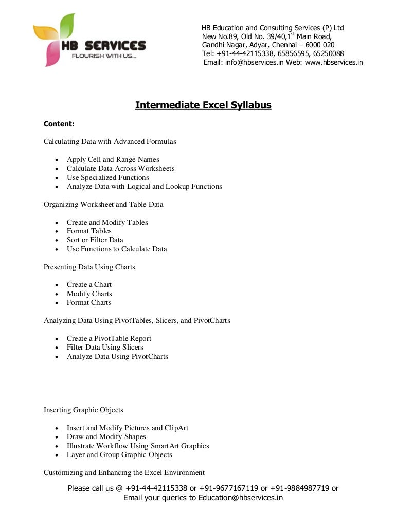 intermediate excel syllabus www hbservices in