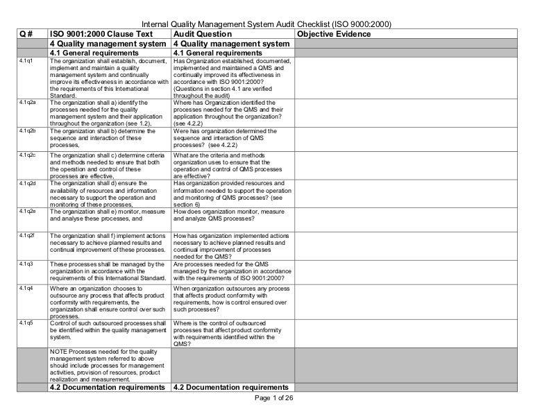 internal quality mgmt system audit checklist iso 9000 2000. Black Bedroom Furniture Sets. Home Design Ideas