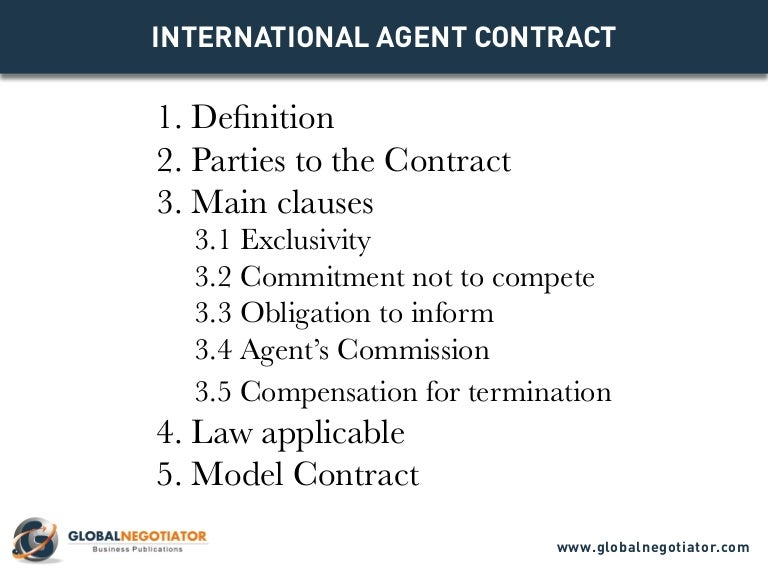 International Agent Contract - Contract Template And Sample