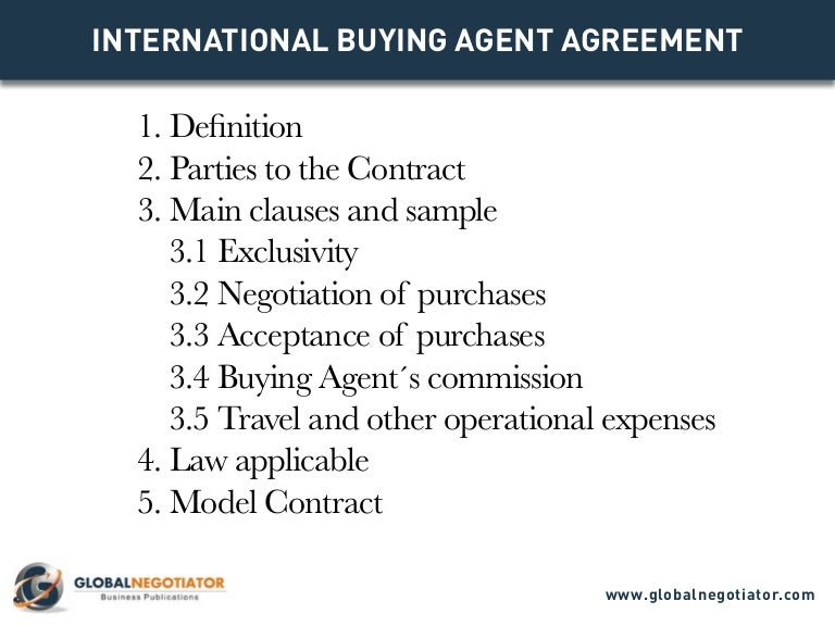 International Buying Agent Contract  Contract Template And Sample