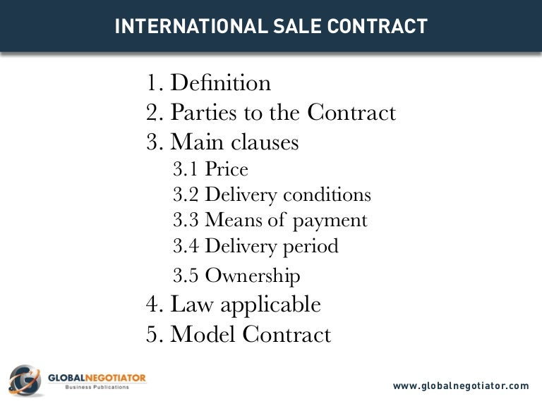 International Sale Contract - Contract Template And Sample