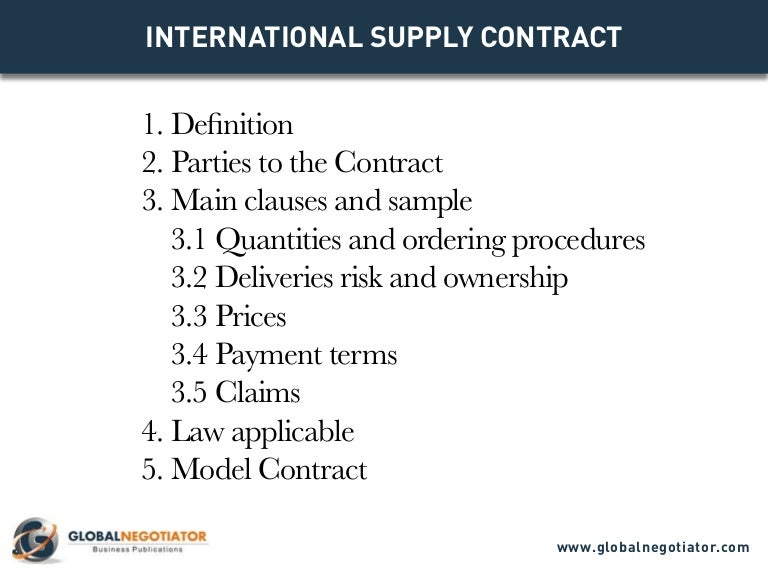 INTERNATIONAL SUPPLY CONTRACT Contract Template and Sample – Supply Contract Template
