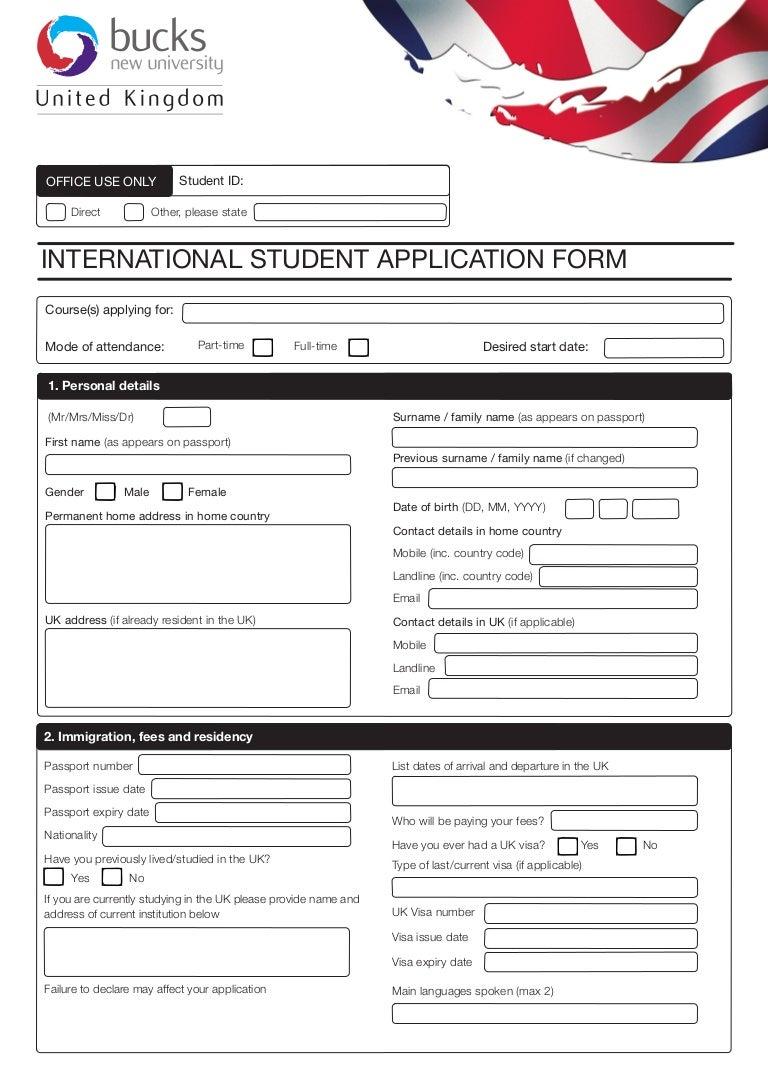 Bucks new university international application form bucks uk falaconquin