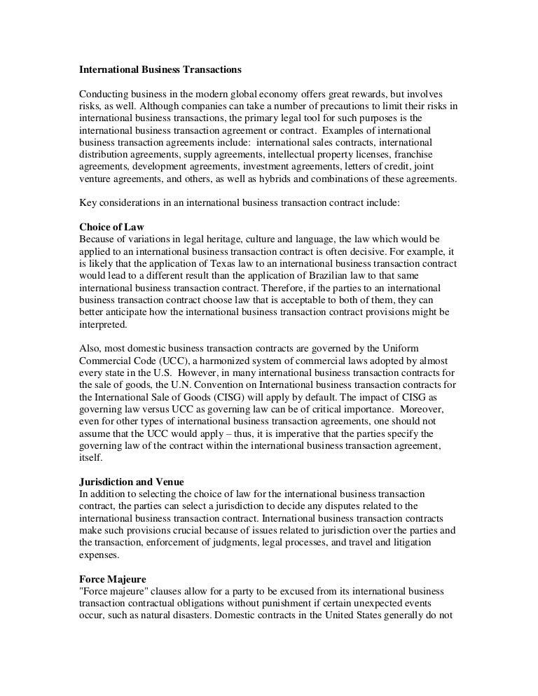 international business transactions white paper