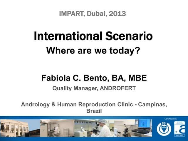 International Cenario - Where are we today?