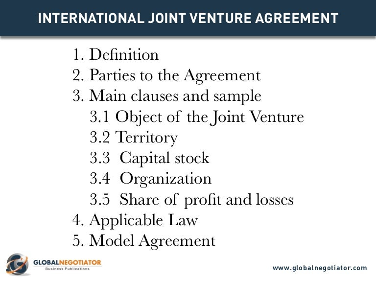 International Joint Venture Agreement Template