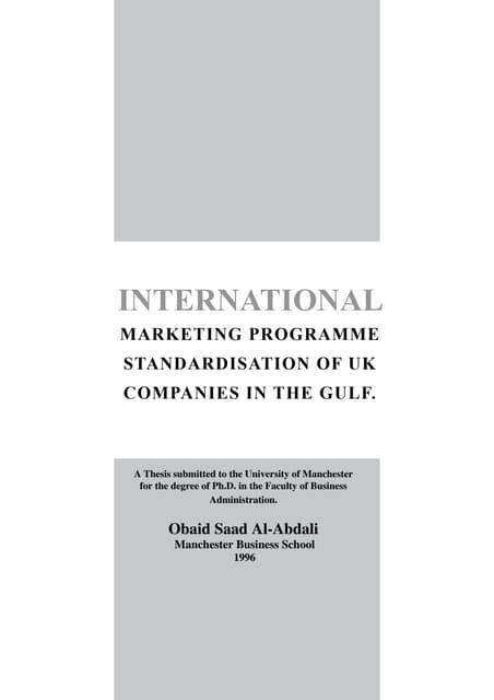 International marketing  programme (My PhD 1996)