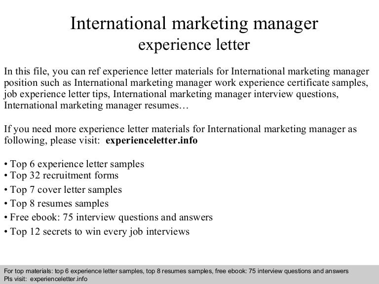 internationalmarketingmanagerexperienceletter 140822110407 phpapp01 thumbnail 4jpgcb1408705472 - International Marketing Manager