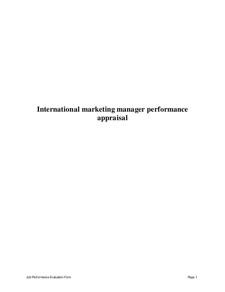 international marketing manager perfomance appraisal 2 - International Marketing Manager