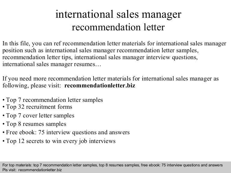 International Sales Manager Recommendation Letter