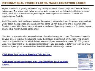 International Student Loans: Makes Education Overseas Easier - Free Student Loans Info