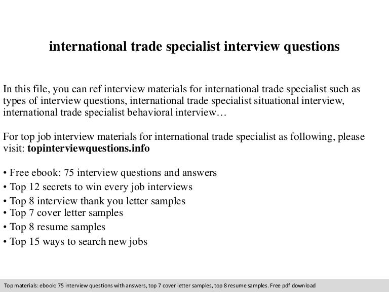 international trade specialist interview questions - Trade Specialist Sample Resume